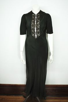 """This"""" Lingerie """"dress in crepe rayon trimmed of cotton dentelle .   This piece has been hand dye individualy .   Made in France in the 1930′s .   The full dress is cut in the biais with a hand rolled hem.   The size is 38 .40   Chest 96 cm   Seam size 88 cm   Full lenght 141 cm   Sleeve 29 cm inseam 14cm   collar around neck 40 cm   The dress as a very small hole on the front .   Picture on request by mail ."""