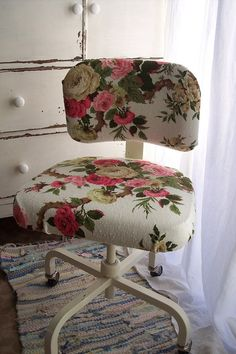This is a great idea. Take an old desk chair from the Goodwill and recover it with chic vintage fabric. Easy and inexpensive!!