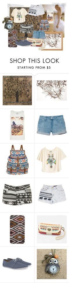 """""""Earthy Aztec"""" by purple-penguin90 ❤ liked on Polyvore featuring Bandolera, River Island, Mother, Topshop, Fred Perry, animals, brown and aztec"""