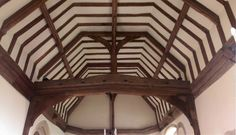 Beautiful oak crown post roof, with superb moulded tie beam and wall plates. Oak Framed Buildings, Stuff And Thangs, Plates On Wall, Beams, Medieval, Most Beautiful, Crown, Ceiling Lights, Tie