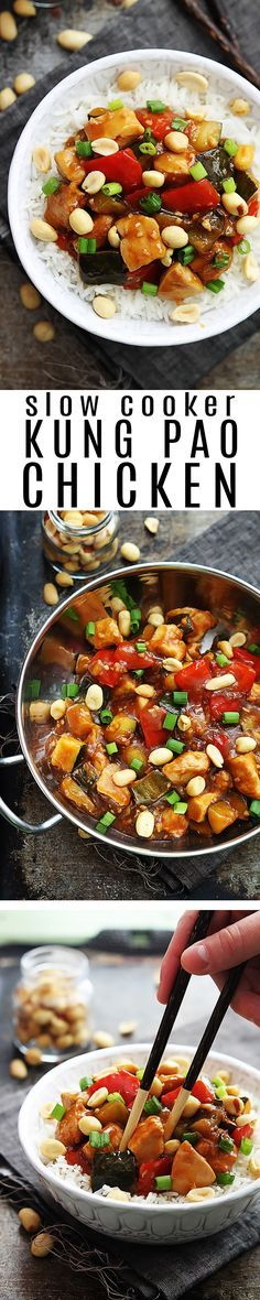 Spicy slow cooker Chinese Kung Pao Chicken with no weird ingredients and better flavor than take out!