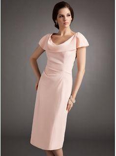 Sheath/Column Cowl Neck Knee-Length Chiffon Mother of the Bride Dress With Ruffle (008005704) - JJsHouse