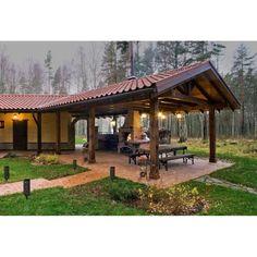 Backyard Pavilion, Backyard Patio Designs, Front Yard Landscaping, Patio Ideas, Backyard Ideas, Outdoor Pavilion, Pathway Lighting, Landscape Lighting, Outdoor Lighting