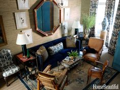 Blue Guest Bedroom - Miles Redd Brooklyn Townhouse - House Beautiful