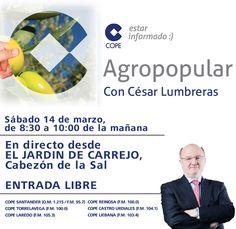 Si vienes a dormir, el Sabado a las 8.30 podrás escuchar en directo el programa @agropopular con César Lumbreras