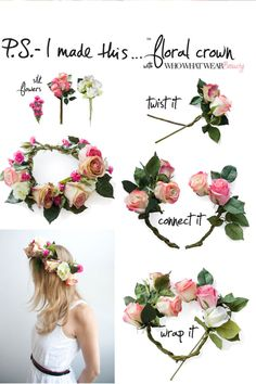 How To Make a Fab Floral Crown. For bridesmaids - maybe with smaller blooms so they aren't so in-your-face?