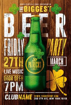 Create Editable flyer that stand out ! St Patricks Flyer psd Design for Adobe Photoshop. Create amazing flyer template for Saint Patrick's day event. Create Flyers, Restaurant Poster, St. Patricks Day, Beer Poster, Psd Flyer Templates, Cool Business Cards, Party Poster, Photoshop, Grafik Design