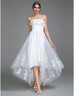 2017+Lanting+Bride®+A-line+Wedding+Dress+Asymmetrical+Strapless+Tulle+with+Appliques+/+Ruche+–+USD+$+345.00