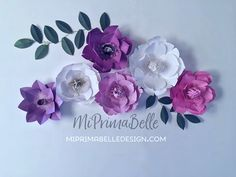 MI PRIMA BELLE has more on ETSY. Find my shop today! Paper flowers in purple and white. Perfect for home decor and event backdrop. Baby nursery room wall decor above the crib, playroom or dining room. Wedding flower decor and event table backdrop or party photo props.