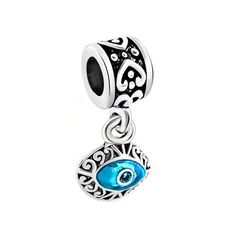 SPARKLY SILVER /& CLEAR RHINESTONES EVIL EYE CLIP ON CHARM FOR BRACELETS-S//PLATE