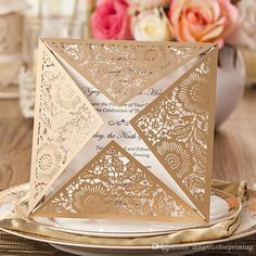 50 Fancy Golden Flower Invitation For Wedding; Gold Square Laser Cut Wedding Invitation -- Set of 50 pcs Muslim Wedding Invitations, Wedding Invitation Card Design, Laser Cut Invitation, Flower Invitation, Lace Invitations, Invitation Envelopes, Invitation Ideas, Invitation Templates, Wedding Stationery