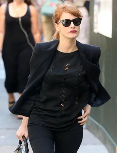Jessica Chastain is spotted out for a stroll in New York City, New York on August 28, 2014.