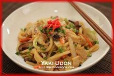 Yaki Udon with sliced Pork Belly_is stir fried Udon Noodles_ and the sauce used to flavor the dish varies depending on the household.  My mom uses Mentsuyu as main flavor, so I cook Yaki Udon same way.  I remember my mom never measures her ingredients but her Yaki Udon always turns out delicious.  Yaki Udon is a quick and easy dish to make with typical ingredients you might already have in the fridge.