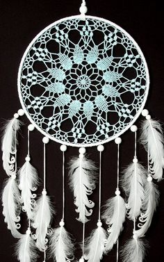 Large Light Blue White Doily Dream Catcher, Wedding decor, Nursery Decor, Something Blue, Crochet Doily Dreamcatcher with white feathers, boho style, wedding decorations, wall hanging, wall decor, handmade dreamcatcher, lace dreamcatchers, stylish design. SIZE: - diameter of the hoop :-10 - 12 ( 25 - 30 cm ) - height : 32- 36 ( 80 - 90 cm) MATERIAL: - crochet doily - cotton thread - wooden frame - wooden beads - feathers ~~ ***Note! Beads may vary from shown in the product pictures. I us...