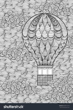 hot air balloon illustration for coloring by margolana on Fotolia