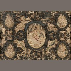 A 17th or early 18th century stumpwork panel With central robed female figure (depleted) within an oval surround, the corners with further female figures similarly bordered amidst birds and scrollwork, 26.5cm x 37cm, on a pine stretcher in a foliate scroll-carved and pierced frame (the textile in poor condition)