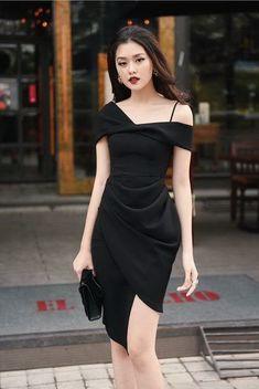 Classy Dress, Classy Outfits, Pretty Outfits, Stylish Outfits, Ulzzang Fashion, Asian Fashion, Girls Fashion Clothes, Fashion Dresses, Black Dress Outfits