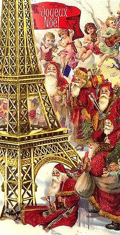Eiffel Tower Santas and angels Christmas card from Germany