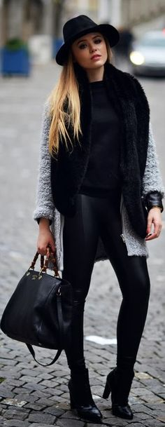 gray and black overcoat/ black fedora {Warm It Up! by Kayture}