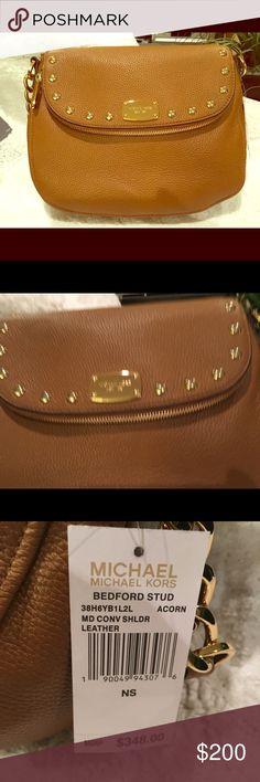 e74ecf560d75 NWT Michael Kors BEDFORD STUD Bag MK Bedford STUD Leather Shoulder Medium  Bag in 'Acorn' color. Soft supple leather Gold Tone Studding on front flap  Front ...