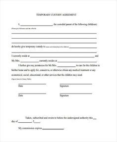 Temporary Guardianship Agreement Form Punctuation Worksheets