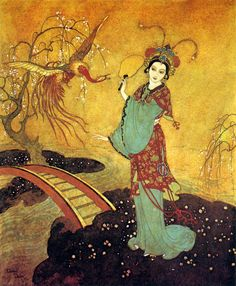 Princess Badoura (frontispiece for the children's book, Princess Badoura), 1913, by Edmund Dulac