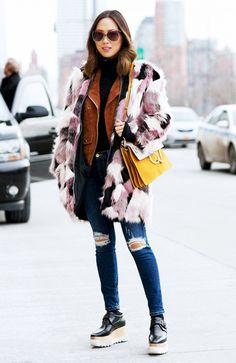 Aimee Song of Song of Style in stella mccartney platforms, patchwork fur coat, chloe faye bag