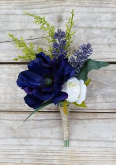 NAVY and WHITE Boutonniere Wedding Buttonhole made with Real Touch & Silk…