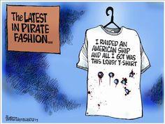 somali piracy cartoon - Google zoeken Pirate Fashion, Somali, Cartoons, Humor, Google, Mens Tops, T Shirt, Supreme T Shirt, Cartoon