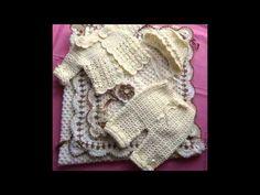 Conjunto para bebê em Crochê Ternura - Gorro, Botinha, Pantufa - YouTube