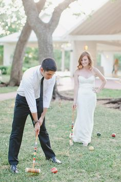 playing croquet at the reception | Caroline Joy