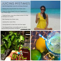Common Juicing Mistakes: Not drinking juice on an empty stomach. Waiting to long to drink fresh juice. Treating juice like a meal. Leaving your juicer dirty. Juicing spinach and kale over and over again. Healthy Juices, Healthy Smoothies, Healthy Drinks, Get Healthy, Superfood Smoothies, Fruit Smoothies, Juice Smoothie, Smoothie Drinks, Juicing For Health