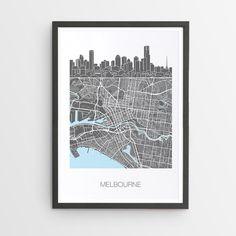 Melbourne City Skyline Map Print / Victoria / Skyline
