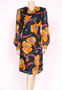 Fab Original VINTAGE 1960 s 60 s Bold Bright Poppies Printed Dress! UK 18
