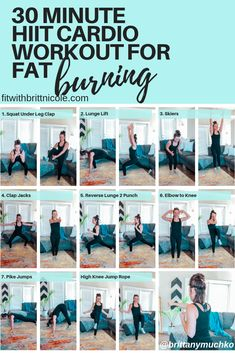 30 Minute At Home HIIT Cardio Workout for Fat Burning | Britt Muchko