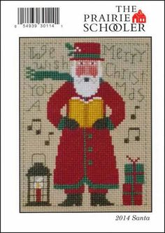 2014 Schooler Santa : Prairie Schooler counted cross stitch patterns Christmas December primitive hand embroidery by thecottageneedle Cross Stitching, Cross Stitch Embroidery, Hand Embroidery, Cross Stitch Designs, Cross Stitch Patterns, Santa Cross Stitch, Needlepoint Patterns, Christmas Embroidery, Christmas Cross