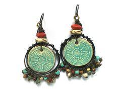 Boho Jewelry Hippie Earrings Ceramic Jewelry by SheFliesAgain