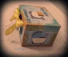 Wooden box, painted in acrilic colours, babyshower gift, customized with name and birth date.
