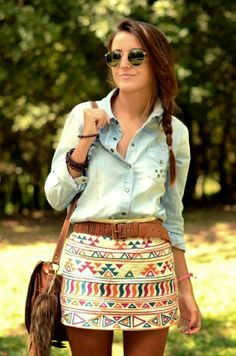 MODE+THE+WORLD:+Colorful+Tribal+Print+Skirt+With+Denim+Shirt