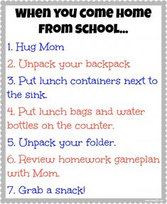 Creating an After School Routine + Free Printable When you come home from school chart. Love it, will print!
