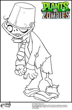 Click The Plants Vs Zombies Buckethead Zombie Coloring Pages To View Printable Version Or Color It Online Compatible With IPad And Android Tablets