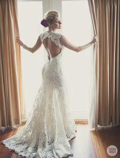 Lace Wedding Dress Open Back Say Yes Dress