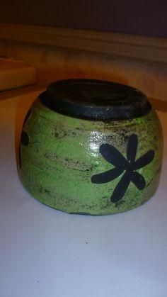 Green raku glazed pot