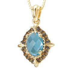 Tivolia Collection 14K Yellow Gold Blue Topaz and Cognac Diamond Pendant