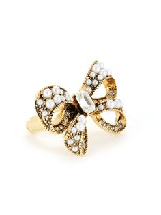 All Abowed It (betseyjohnson.com, $55): Betsey Johnson Big Pearl Bow Stretch Ring