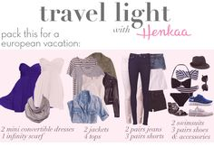 What to pack for Europe - Travel Light! Pick your own color palette & pack only these convertible pieces and basics