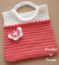 Simple but beautiful, an all purpose tote bag you can use for the beach, shopping or just to store your crochet projects in, it's worked from ..........