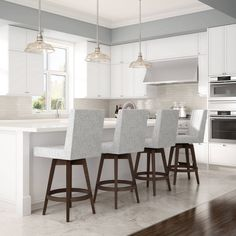 Kitchen Stools, New Kitchen, Bar Stools, Kitchen Decor, Kitchen Island Stools With Backs, Swivel Counter Stools, Modern Kitchen Design, Brown Wood, Home Furniture