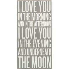 I Love You in the Morning Box Sign