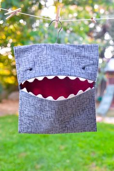 cool DIY Shark Clothespin Bag Sewing Pattern - The Polka Dot Chair